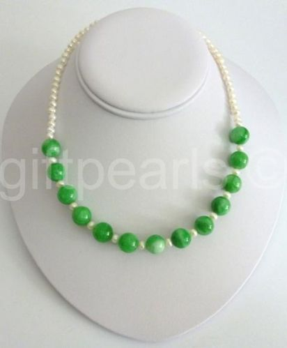 Green jade and white pearl necklace.